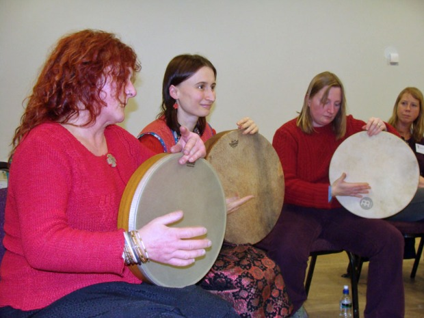 Todmorden Frame Drum Group demonstrating